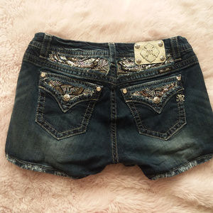 Miss Me Curvy Mid-Rise Sequin Crystal Shorts